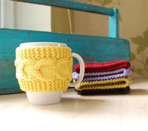 knitted mug warmers pattern coffee cup cozy knit with cable pattern mug sleeve