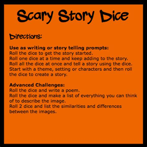 halloween story themes scary story dice directions ralph wilson s pd board