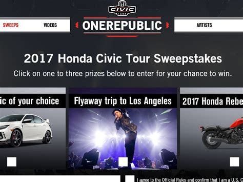 2017 Honda Civic Tour Sweepstakes - honda civic tour sweepstakes