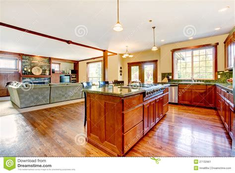 Luxury Living Room And Kitchen Luxury Wood Kitchen With Living Room With B Stock Image