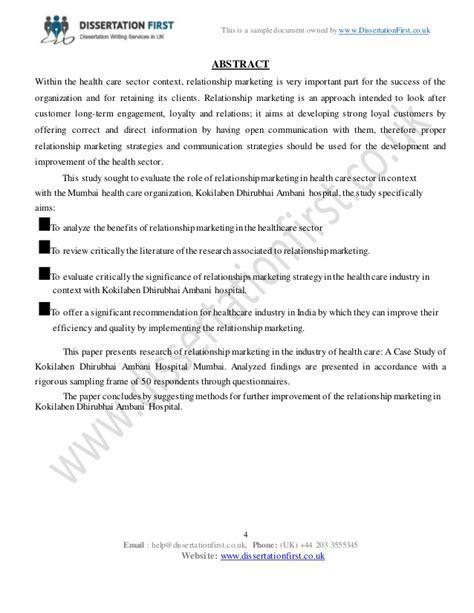 dissertation in marketing dissertation relationship marketing in health care industry