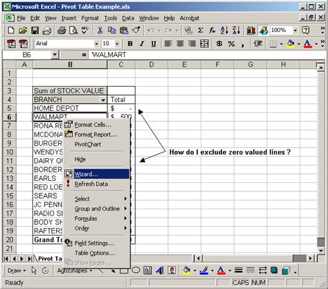 layout excel 2003 ms excel 2003 hide zero value lines within a pivot table