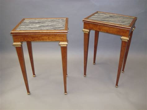 Top Tables by Stylish 19th Century Pair Of Mahogany With Marble Top End