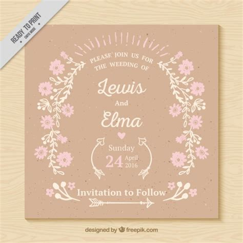 Wedding Card Vintage by Vintage Wedding Card With Delicated Flowers Vector Free