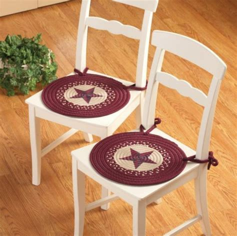 Western Dining Room Chair Cushions 2 Pc Western Style Country Braided Kitchen Dining