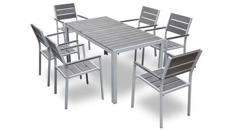 table et chaise de jardin en aluminium table et 6 chaises giany en aluminium pour jardin