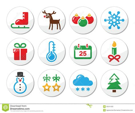 christmas winter colorful icons set as round labels stock