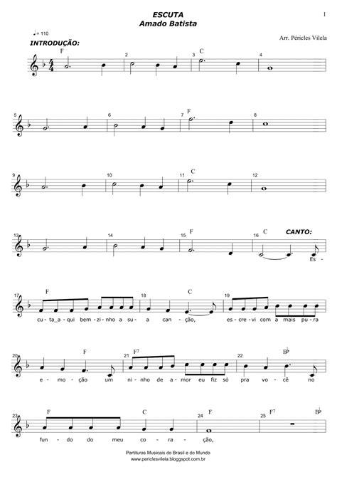 Partituras Musicais: Escuta - Amado Batista - n.º 1696
