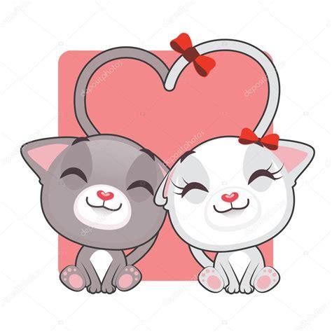imagenes de amor de gatitos animados dibujos animados de gatitos enamorados vector de stock