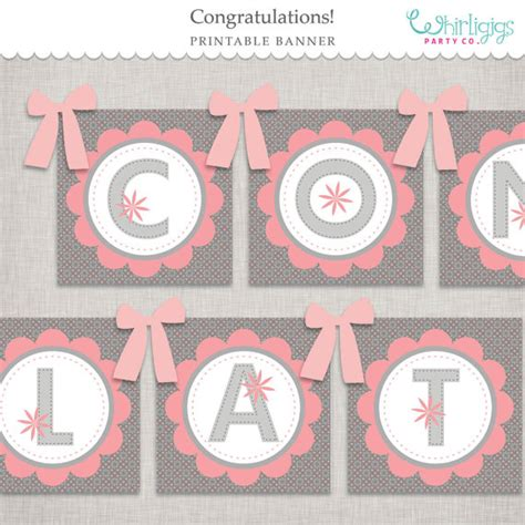 printable banner congratulations pink floral congratulations banner printable file instant