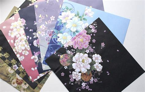 origami scrapbook origami paper pack kimono print japanese paper floral