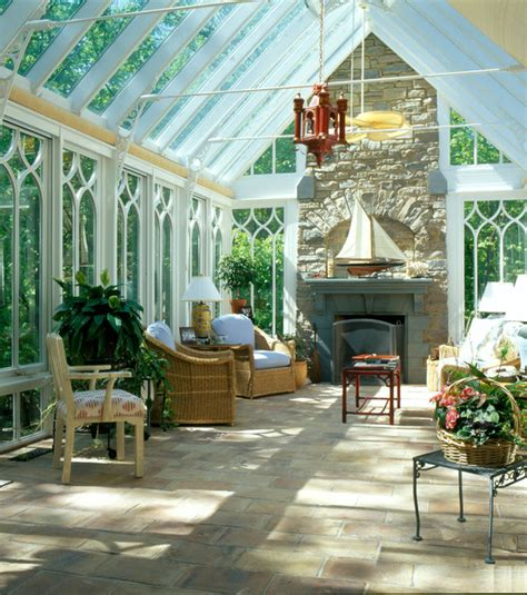 Conservatory Room by Gable End Conservatory With Fireplace Traditional