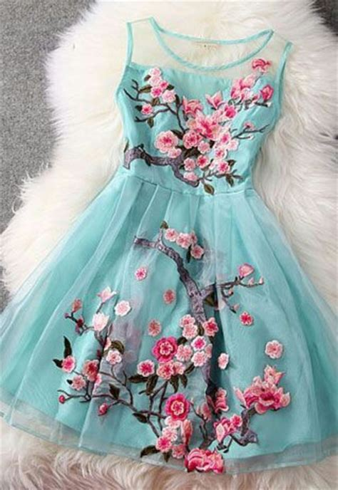 Blue And Flower Flowers S M L Dress 43431 embroidery dress top fashion design trend holicoffee