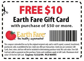 Earth Fare Gift Card - 10 gift card from earth fare saving with shellie