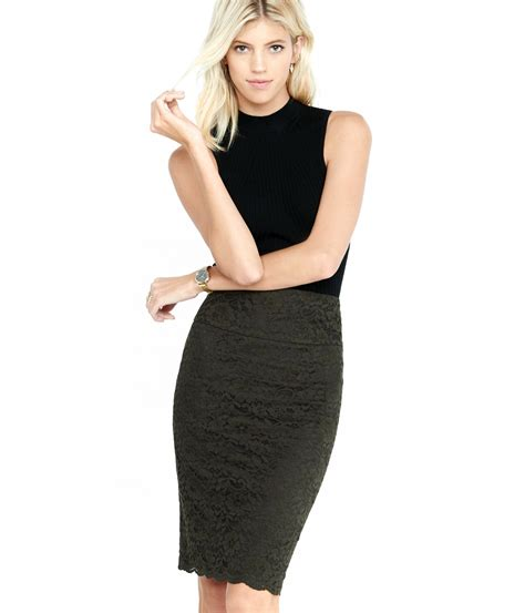 express olive high waisted lace midi pencil skirt in gray