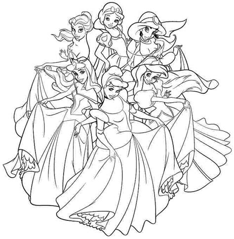 Coloring Pages Of Princesses by All Disney Princess Coloring Pages Color Bros