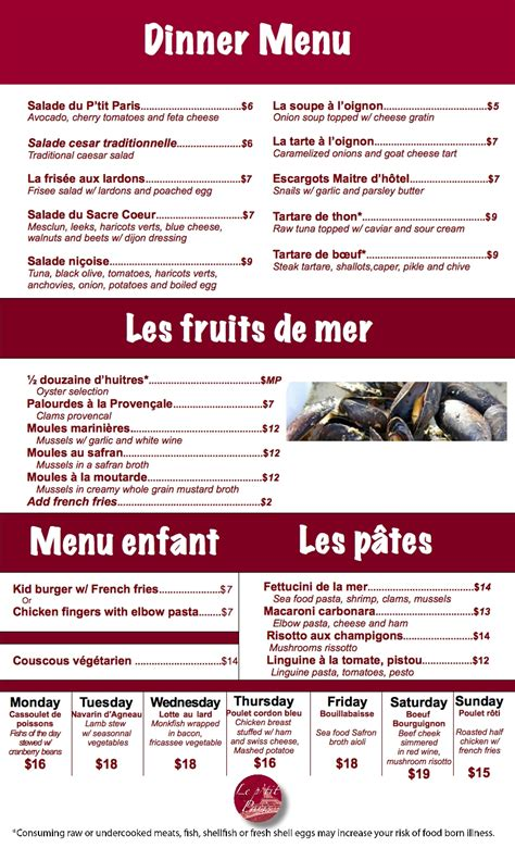 simple dinner menus look at le p a bistro for