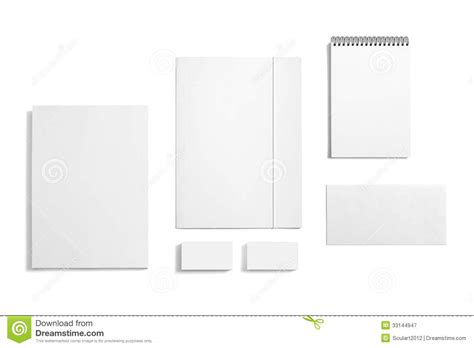 blank stationery set isolated on white stock image image