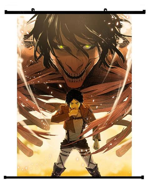anime attack on titan eren yeager wall scroll 01 hobby zone