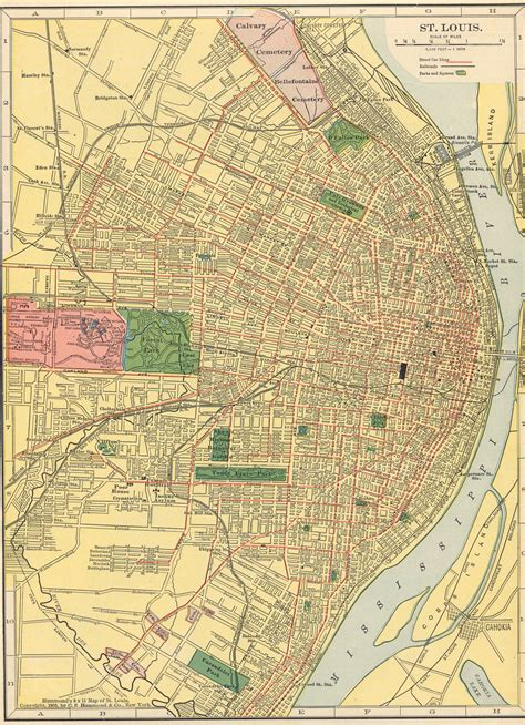 st louis map usa the usgenweb archives digital map library hammonds 1910