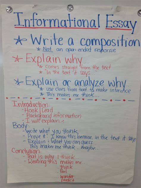 Writing Informative Essays by Informational Essay 4th Grade Ela Anchor Charts Anchor Charts Language Arts And
