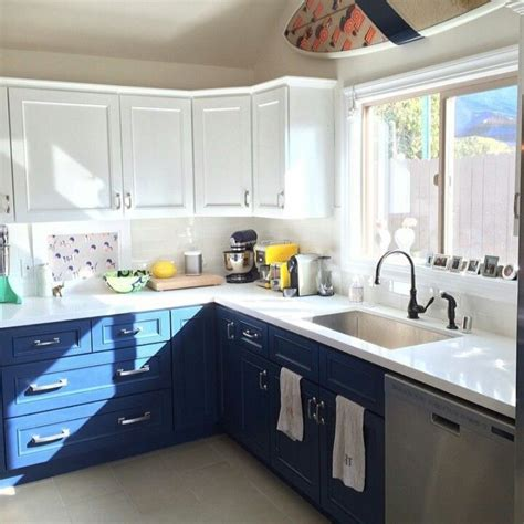 blue kitchen white cabinets two tone kitchen cabinets white blue house stuff