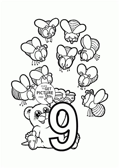 coloring pages counting numbers number 9 coloring pages for preschoolers counting numbers