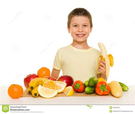 vegetables boys boy with fruits and vegetables stock photo image 46058485