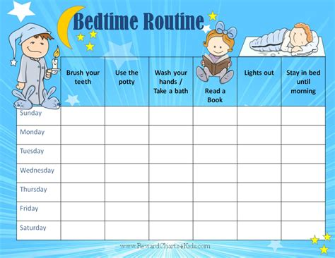 printable reward charts for sleeping bedtime routine chart