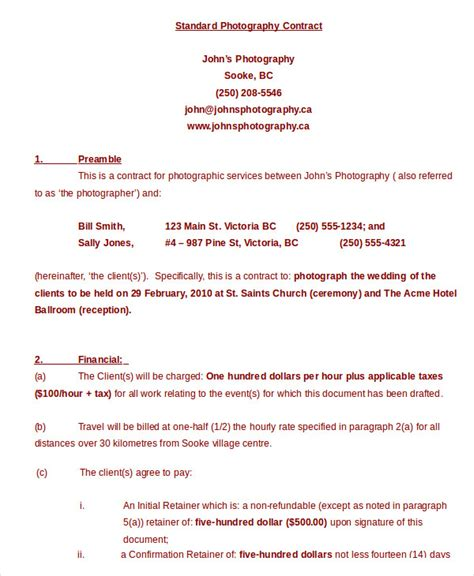birth photography contract template photography contract exle 11 free word pdf documents