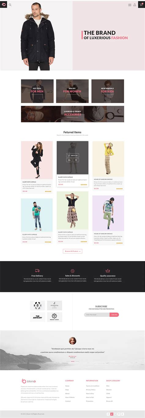 Free Ecommerce Web Templates Psd 187 Css Author Clothing Brand Website Template