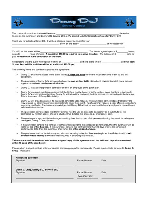 dj contract template 6 free templates in pdf word