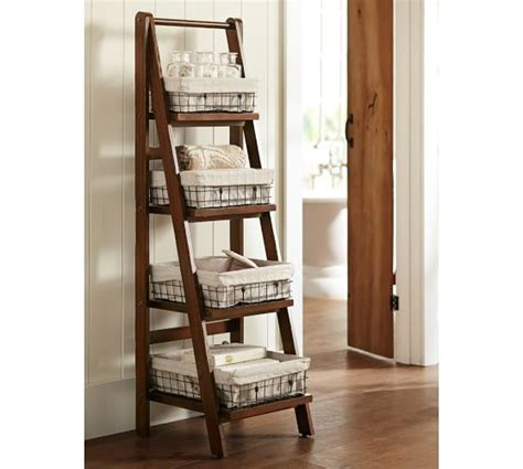 benchwright ladder floor storage pottery barn