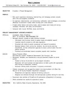 How To Write A Resume For A Manager Position by Chronological Resume Exle Project Manager