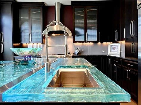 Poured Glass Countertops by Poured Glass Countertops With Led Lights Inside That
