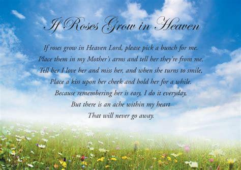 Card mum mothers birthday anniversary if roses grow in heaven ebay