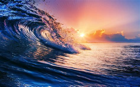 nature sunset sea waves clouds water colorful