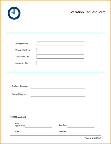 vacation request form 2016 calendar template 2016