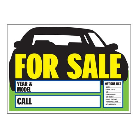 printable car for sale sign clipart best
