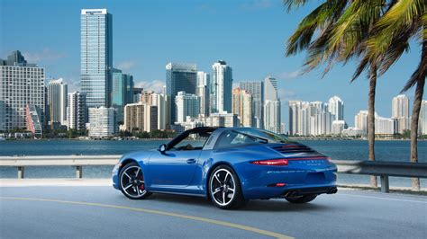 miami blue porsche wallpaper porsche 911 targa 4s blue supercar at city wallpaper