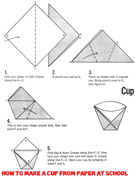 Four Cups Paper Folding - how to make origami cups