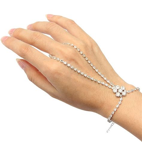 Rhinestone Silver Chain Ring silver plated flower ring bracelet rhinestone