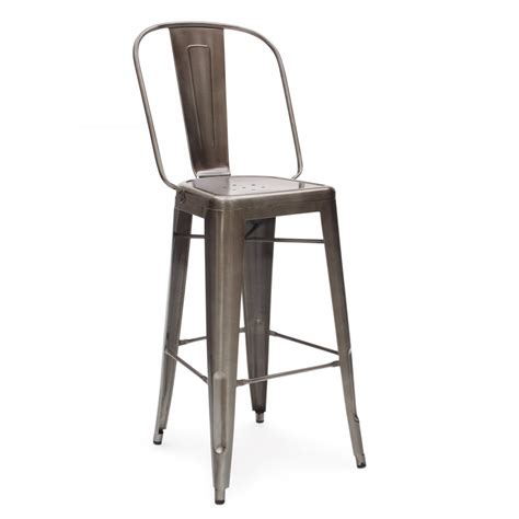 tolix bar stools with back gunmetal 65cm tolix style metal bar stool with high back