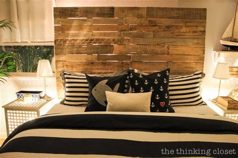 Makeover Your Bedroom - how to build a wood pallet headboard the thinking closet
