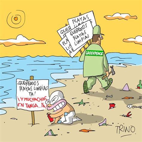 imagenes comicas en la playa tiras comicas queremos playas limpias caricatura