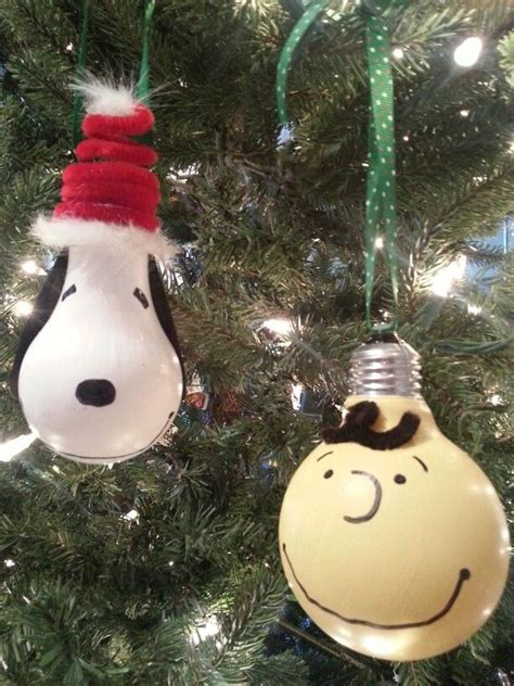 charlie brown and snoopy light bulb ornaments ornaments
