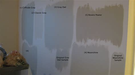 paint swatches on revere pewter repose gray and benjamin