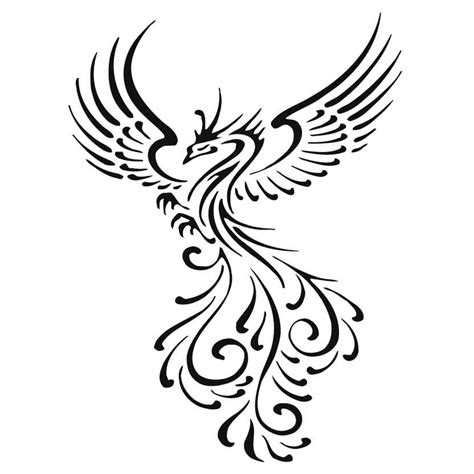 black and white phoenix tattoo designs cool tribal stencil