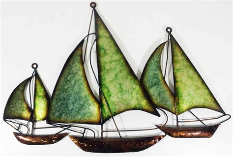 sailing boat metal wall art contemporary metal wall art decor picture 3 green