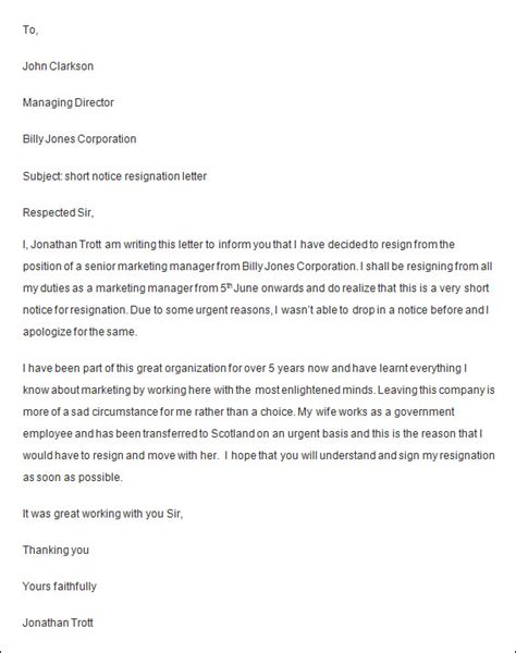Employment Notice Letter Template Employee Resignation Letter Sle